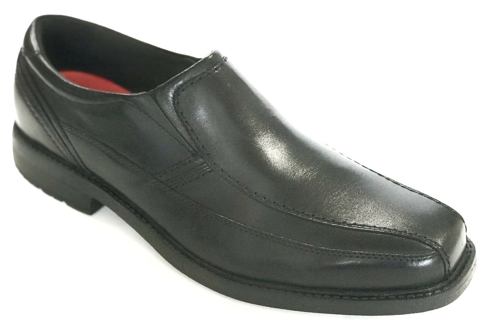 Rockport Mens Real Capital Slip On Loafers Dress shoes Black Leather 12 NEW