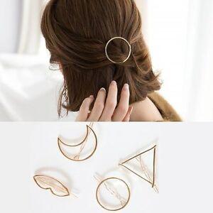 Gold-Fashion-Hair-Clip-Hair-Pins-Moon-Triangle-Infinity-Circle-Barette-Hairclip