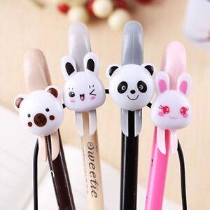 6Pcs Cute Kawaii Lovely Black Gel Ink Roller Ball Pens Animal Cartoon Stationary