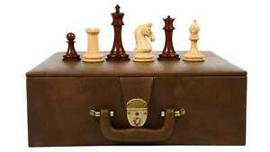 """Combo of Chess Pieces in Bud Rose Wood & Box wood - 4.4"""" King with Storage BOX"""