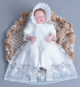 fcae99ab9 Girls White Lace Christening Gown Party Dress Cape Bonnet 0 3 6 12 ...