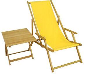 Chaise de plage jaune Transat pour jardin fauteuil longue table 10 ...