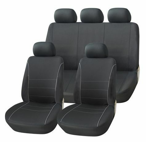 AUDI A5 CABRIOLET 09-ON BLACK SEAT COVERS WITH GREY PIPING