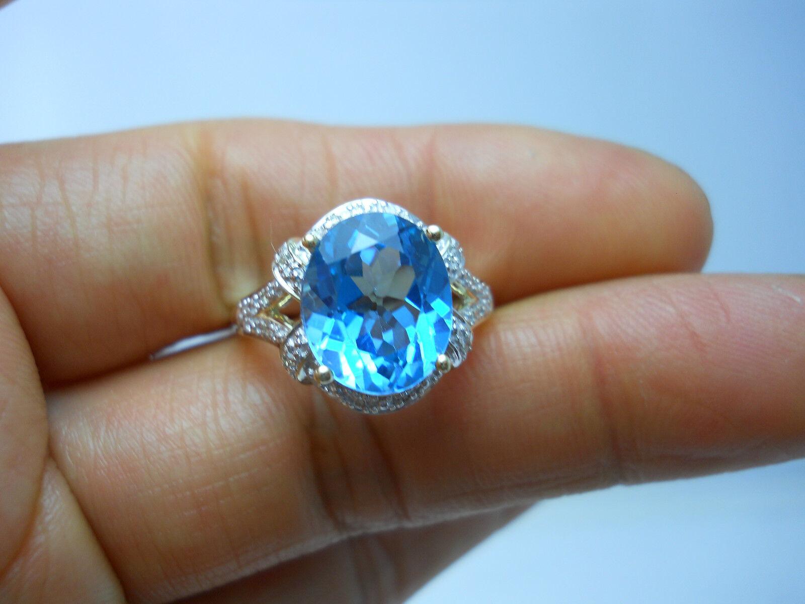 STUNNING 10K YG LADIES TOPAZ & DIAMOND RING SIZE 7.25  G75299-1