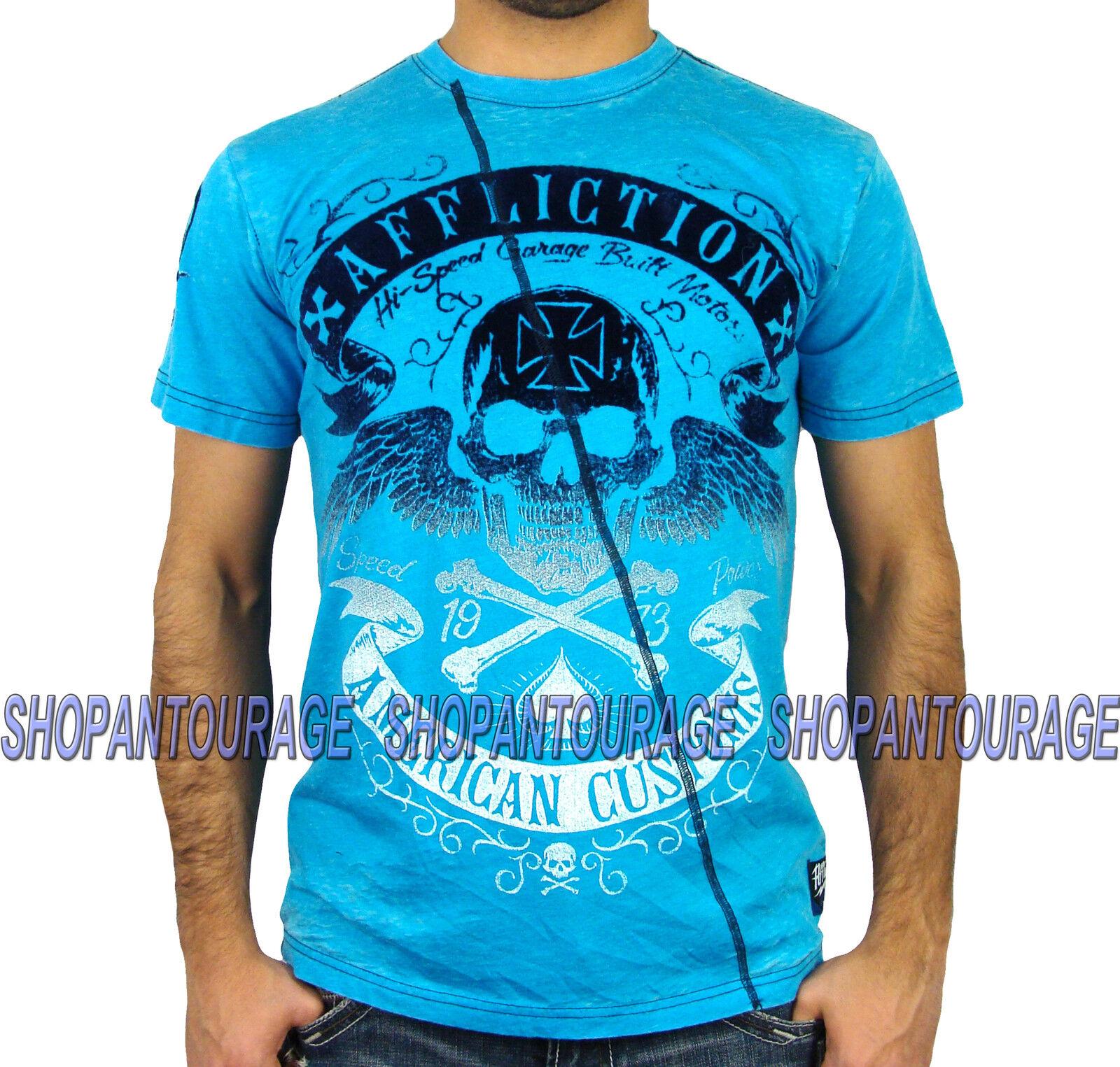 Affliction SPEED RUN A9147 NEW Men`s Burnout T-shirt bluee