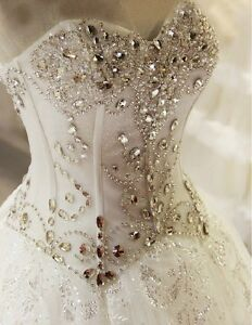 Image Is Loading Sweetheart Corset Top Glitter Wedding Dress Beaded Crystaled