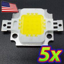 [5x] 10W Bright Clear White Light LED 6500K High Power 1100LM 12V 10 Watt Lamp