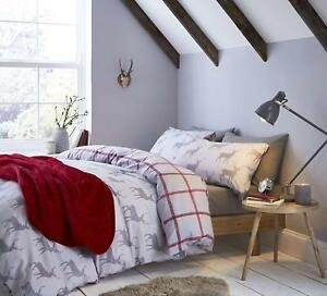 Catherine-Lansfield-Brushed-Cotton-Stag-Grey-Reversible-Check-Duvet-Cover-Set