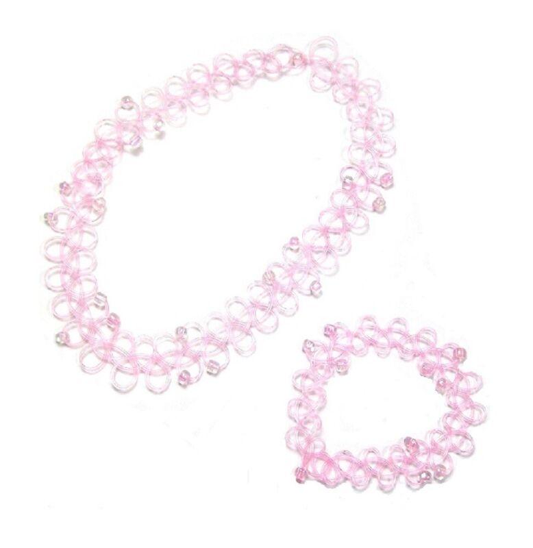 Pink Elastic Stretch Choker Necklace Bracelet Set Retro Tattoo Women Girls Dress