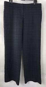 Burberry-Woman-Trousers-Nova-Check-Wool-Pants-Blue-Black-Size-14