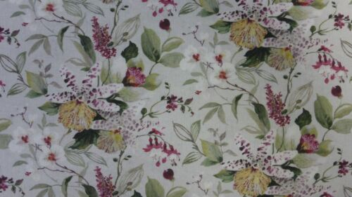 metre  60 inch wide cotton with naturalistic wild flowers in pastels on grey