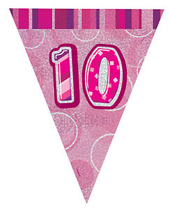 Image Is Loading AGE 10 Happy 10th Birthday PINK GLITZ Party
