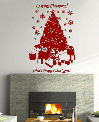 XL Merry Christmas Tree Presents Snow Decoration Wall Art Decal Sticker