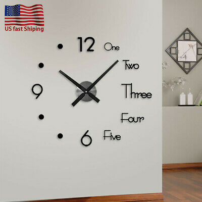 US DIY Wall Large  Mirror Clock Quartz Needle Acrylic Sticker Decor Living Room