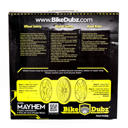 "BikeDubz Mayhem 20/"" Wheel Covers For BMX Bicycle Fits Shadow Conspiracy Bikes"