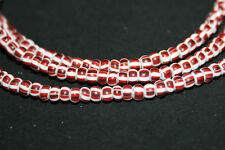 Strang gestreifte Glasperlen Seed Beads aus Ghana ( Trade Beads ) 3mm