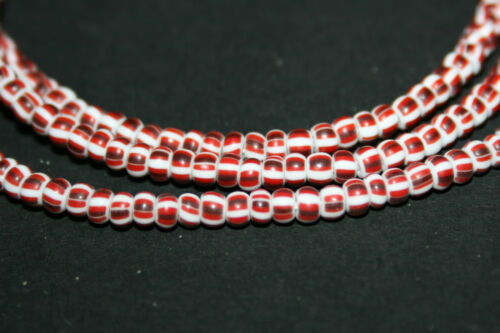 3mm Trade Beads Strang rot gestreifte Glasperlen Seed Beads aus Ghana