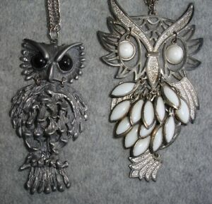Lot-of-2-Vintage-Chunky-Silver-Metal-Owl-Necklaces-Jewelry