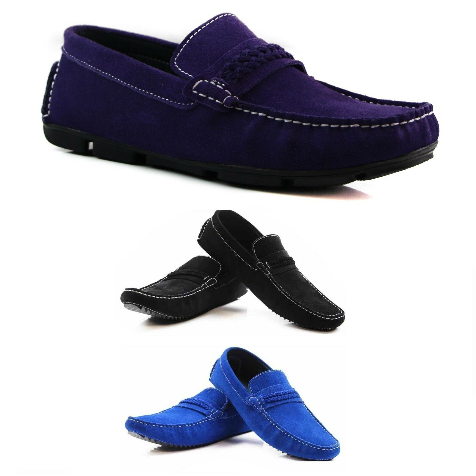 MENS Blau schwarz lila SUEDE LEATHER CASUAL BOAT DECK LOAFERS CASUAL schuhe