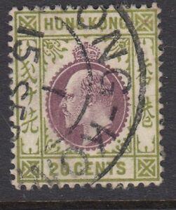 HONG KONG : 1911 EDVII 20c purple and sage-green SG96 used