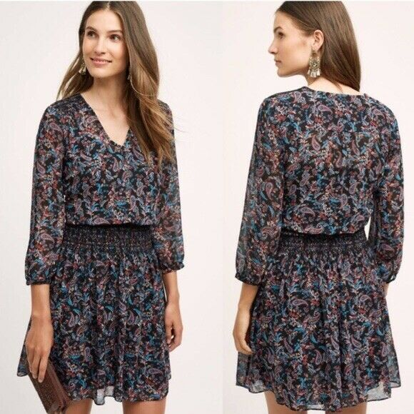 Anthropologe Vanessa Virginia Größe XS schwarz Floral Print Daytripper Dress