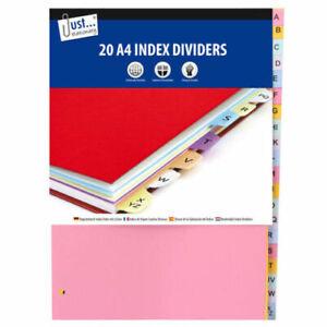 A-to-Z-a-Z-20-A4-parte-archivo-sujeto-ndice-divisores-universalmente-Perforados-fuerte
