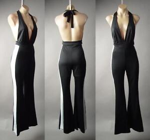 c56bcd76946 Tuxedo Plunge Neck Halter Backless Flare Bell Bottoms Dress Pant 234 ...