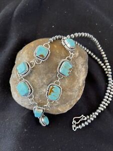 LARIAT-Navajo-Handmade-Long-Sterling-SILVER-TURQUOISE-8-Necklace-Pendant-1111