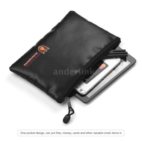 Fireproof Water Resistant Money Cash Safe Document Bag Files Pouch Holder A5O4