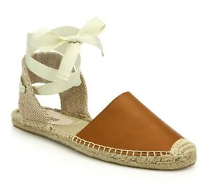 f26ebcf983c32 Image is loading SOLUDOS-Womens-Brown-Leather-Espadrille-Sandals-Sz-5-