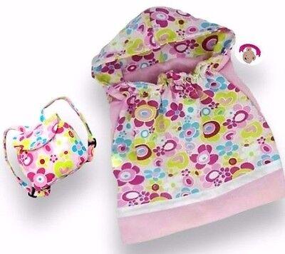 Teddy Bear Clothes fit Build Bears & Dolls Flower Sleeping Bag FREE Backpack Bag