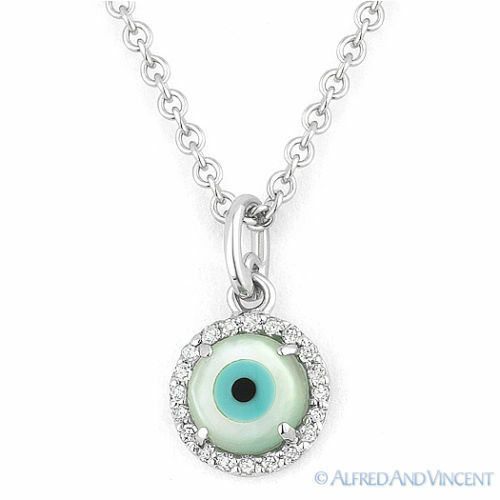 Mauvais oeil turque NAZAR Charme Pearl Diamond grec Judaica Pendentif 14k or Blanc