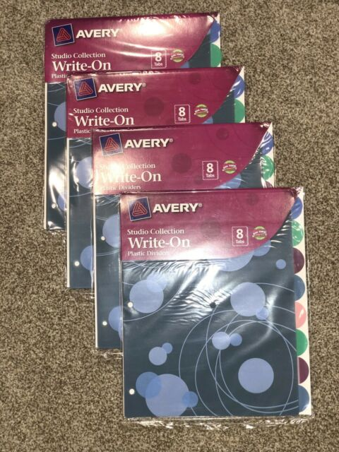 Avery 8-tab Write-On Plastic Dividers Studio Collection 4 Packs Round Tabs