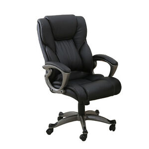 Black PU Leather High Back Office Chair Executive Computer Desk With Gift Task%