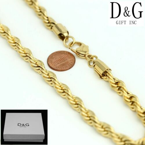 """DG Men/'s 24/"""" Gold Stainless-Steel 9mm Wide Rope Chain Necklace Unisex Box"""