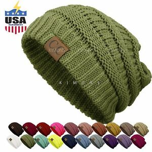 9790f4bc342c15 Image is loading Bubble-Knit-Slouchy-CC-Baggy-Beanie-Oversize-Winter-