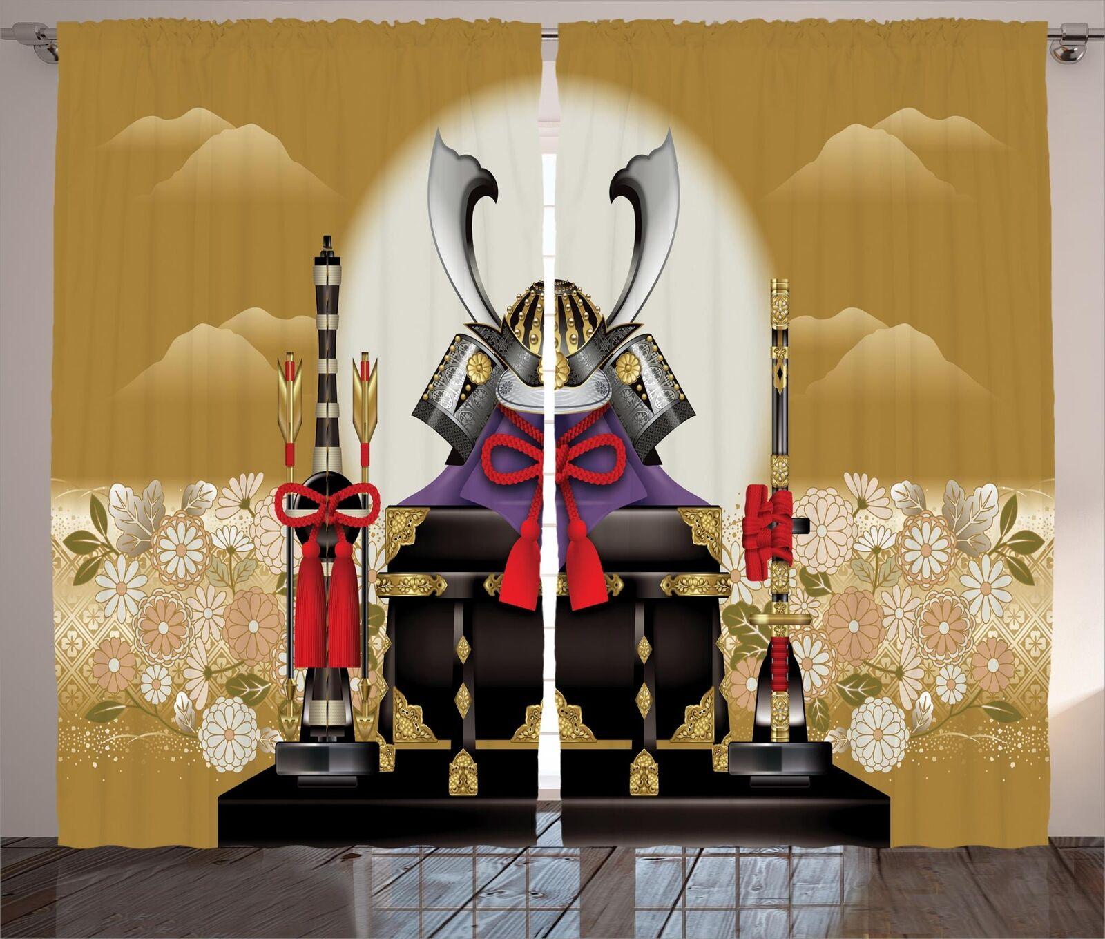 Cortinas de Japón 2 Panel Decoración conjunto 5 tamaños de ventana Cortinas ambesonne