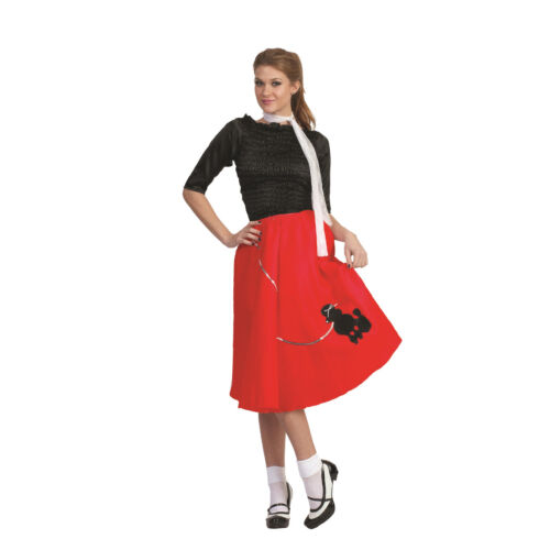 Red Poodle Skirt 50/'s Scarf Sock Hop 1950/'s Retro Grease Sandra Dee Adult
