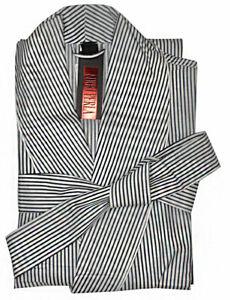 Nero-Perla-Striped-Cotton-Robe-L