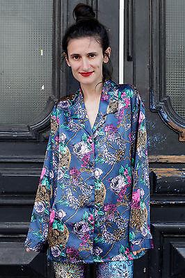 Damen Bluse Blouse Shiny Silky Blumen True Vintage 90s Kimonostil Satin Style