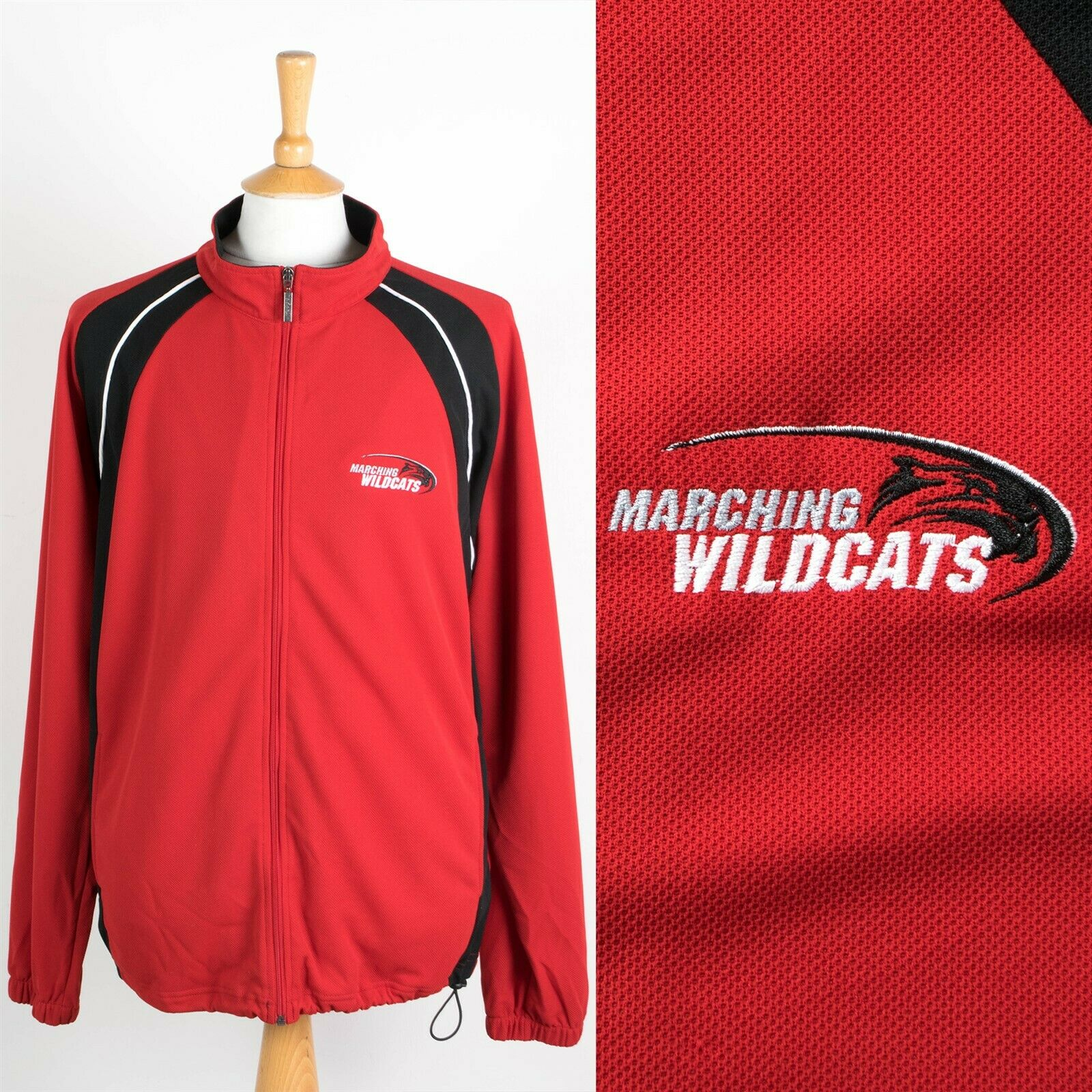 MENS USA MARCHING WILDCATS TRACKSUIT TOP TRACK JACKET TRAINING RED XXL 2XL