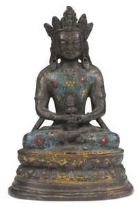 Cloisonne-Amitayus-Bouddha-Figurine-Bronze-27-cm-Chine-Statue-de-Asie-Buddah
