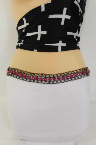 Women Tie Fabric Belt Black Pink Purple Hip Waist Chains Big Rhinestones S M L