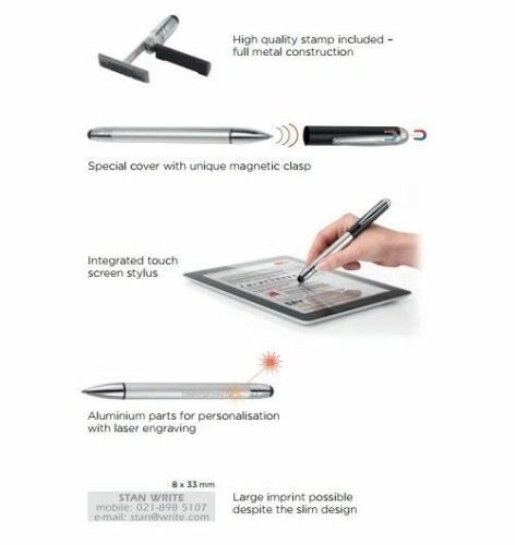 Colop Pen Stamp Alu Magnet Touch with Personalised 8x33mm Self Inking Stamp