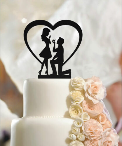 3mm thickness high quality acrylic Fiance /& Fiancee Engagement Cake Toppers
