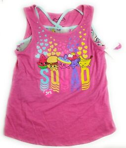 Shopkins-Girls-sz-XS-Pink-Tank-Top-with-Grey-Cami-Under-Sleeveless-Squad