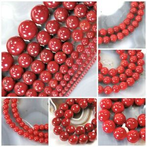 Red-Sea-Coral-Round-Spacer-Loose-Beads-15-034-3mm-4mm-6mm-8mm-10mm-12mm-Free-Ship