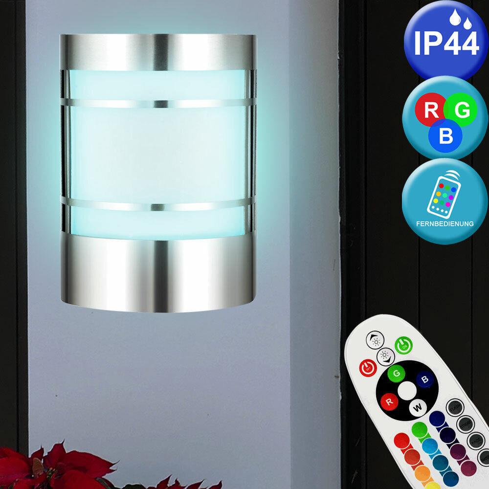 Luxe RGB LED Applique Extérieure Porche Inoxydable Luminaire Verre TÉLÉCOMMANDE