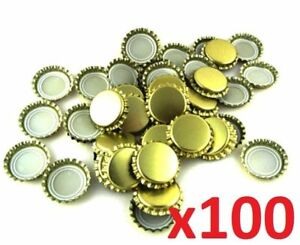 100-x-26mm-Home-Brew-Bottle-Caps-Gold-Color-Very-Good-Seal-Quality-Fast