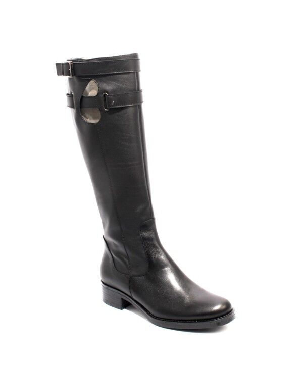 women Piu 10607 Black Leather Knee-High   Zip-Up Buckle Heel Boots 40   US 10